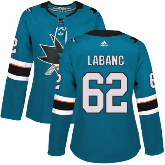 Kevin Labanc San Jose Sharks Women's Authentic Teal Home Adidas Jersey - Green